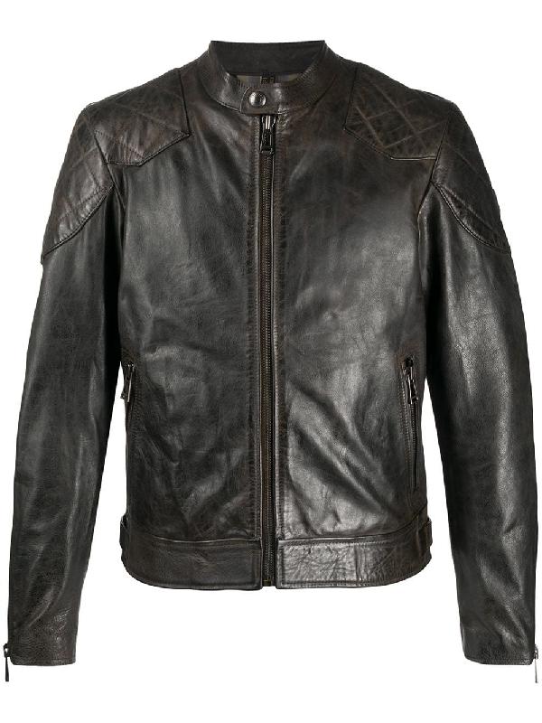 Belstaff Distressed Leather Jacket In Black