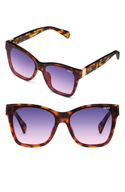 Quay X Lizzo After Party 57mm Square Sunglasses In Tort/ Pink