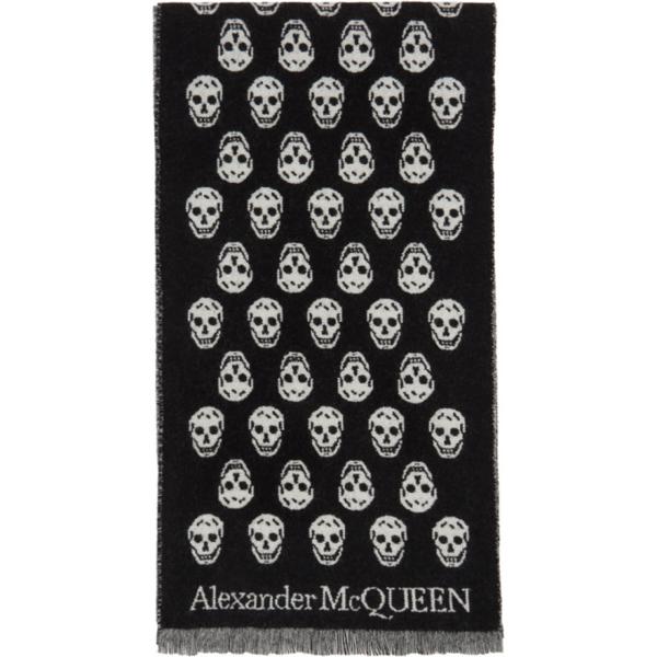Alexander Mcqueen Men's Reversible Skull Wool Scarf In 1078 Blkivr