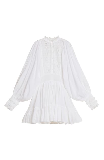 Bytimo Long Sleeve Broderie Anglaise Minidress In White