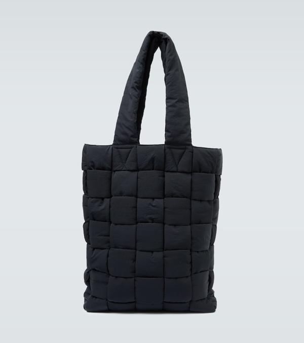 Bottega Veneta Padded Quilted Nylon Tote Bag In Black