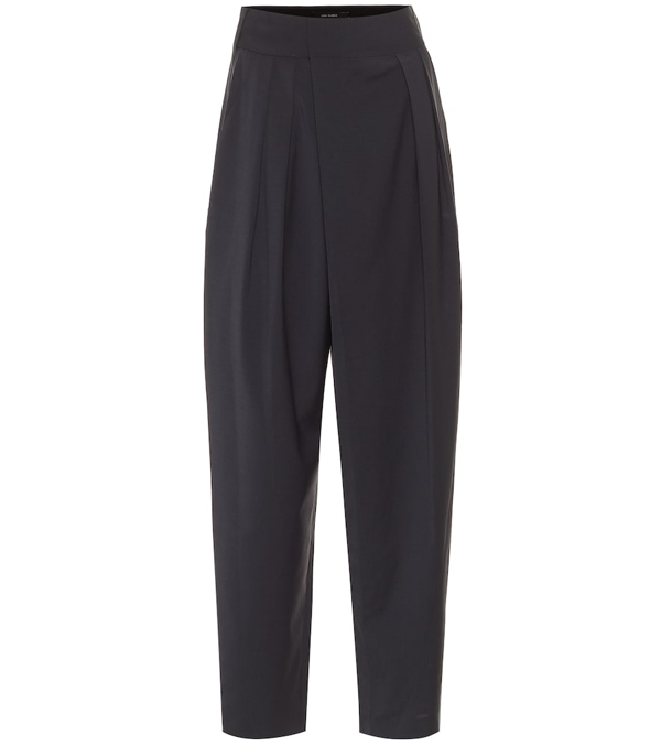 Low Classic High-rise Wool-blend Carrot Pants In Charcoal