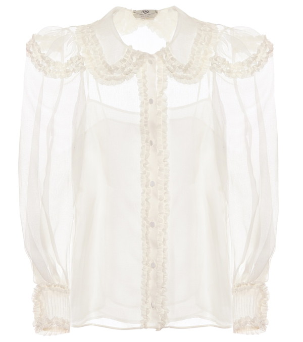 Fendi Ruffled Round-collar Silk-crepe Blouse In White