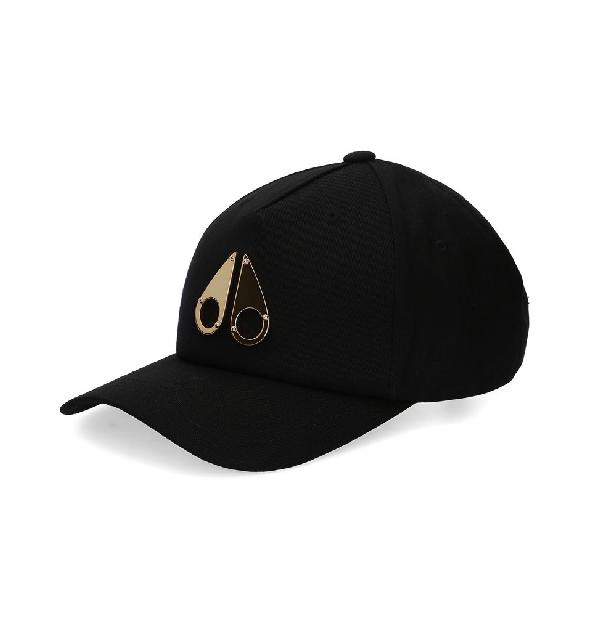 Moose Knuckles Gold Logo Icon Cap In Black