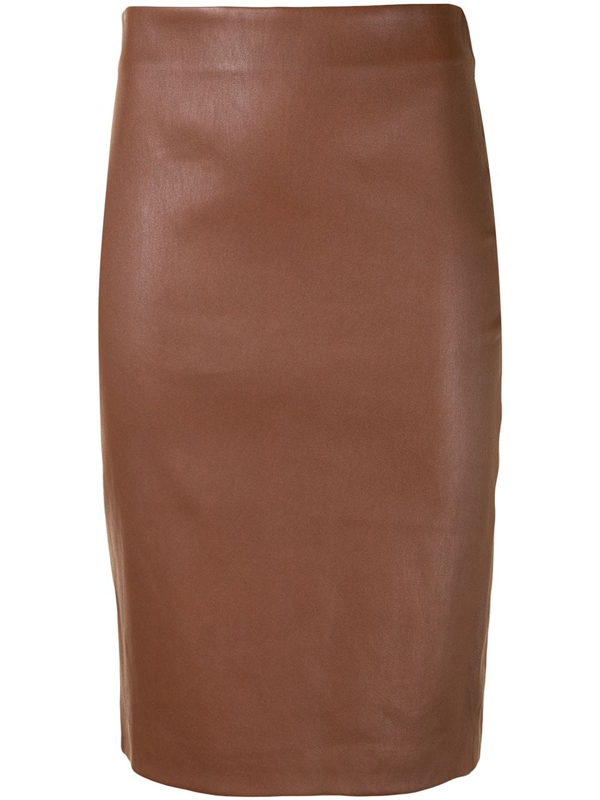 Theory Skinny Faux Leather Pencil Skirt In Chestnut