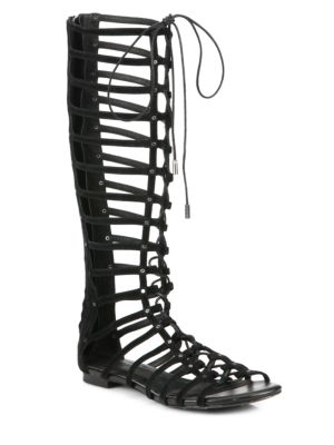 Joie Falacia Suede Lace-up Gladiator Sandals In Black
