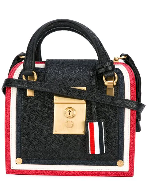 Thom Browne Cricket Stripe Mrs. Thom Mini Bag In 001 Black