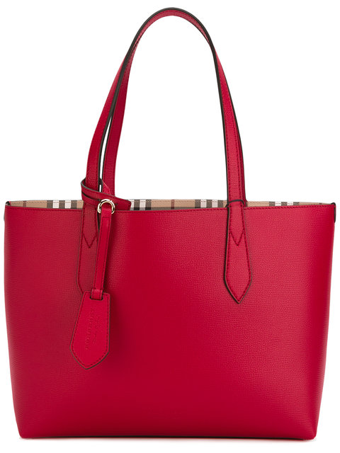 Burberry Small Reversible Tote Bag In Red