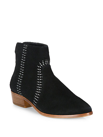 Joie Lucy Embellished Suede Booties In Black