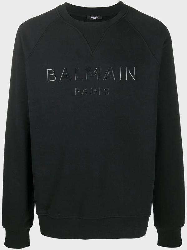 Balmain Lettering Print Cotton Sweatshirt In Black
