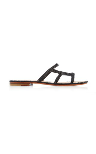 Carrie Forbes Zineb Raffia Slide-on Sandals In Black