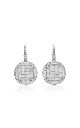 Nam Cho Round 18k White Gold Sapphire And Diamond Baguette Drop Earrings