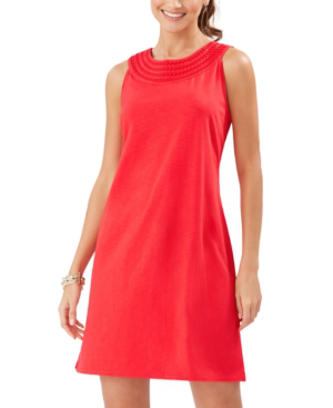 Tommy Bahama Pearl Embroidered Shift Dress In Red Cherry