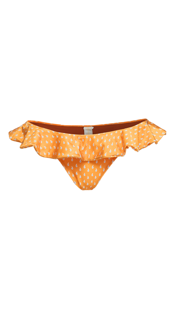 Shani Shemer Agadir Ruffled Bikini Bottom In Orange Print
