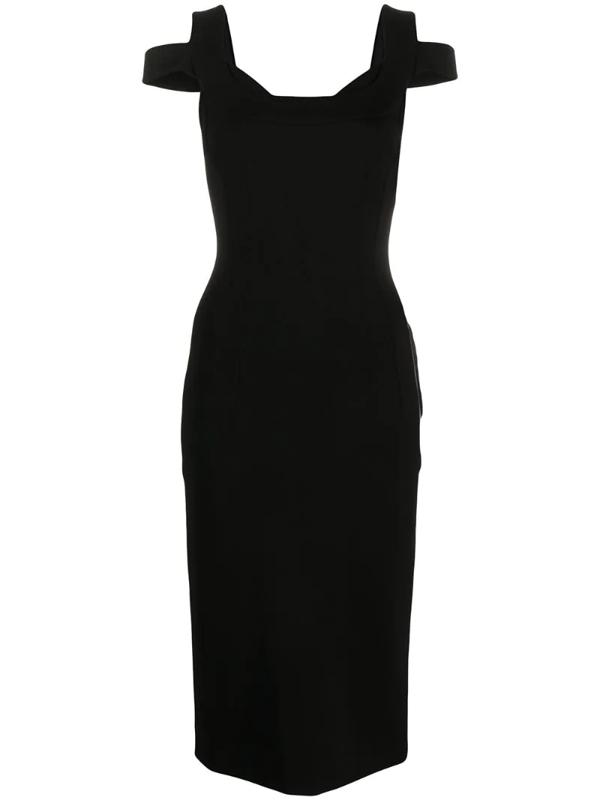 Dolce & Gabbana Fitted Midi Dress In Black