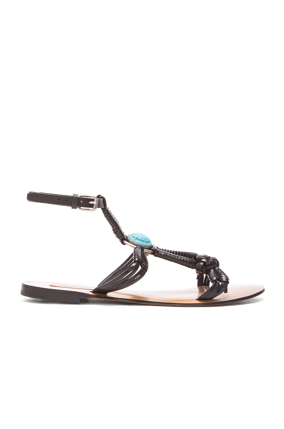 Valentino Flat Ankle Strap Sandals In Natural, Antique Silver & Turquoise