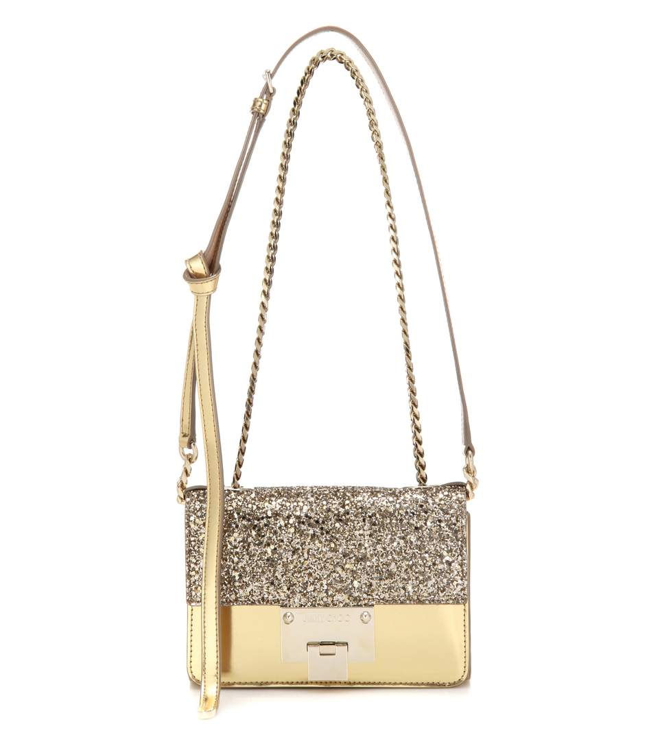 86fff8954e Jimmy Choo Rebel Soft Mini Antique Gold Coarse Glitter And Mirror Leather Cross  Body Bag In