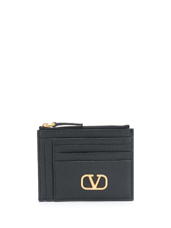 Valentino Garavani Vlogo Leather Cardholder In Black