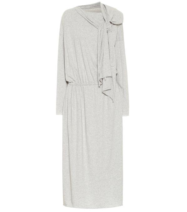 Mm6 Maison Margiela Bow-embellished Cotton-jersey Midi Dress In Gray