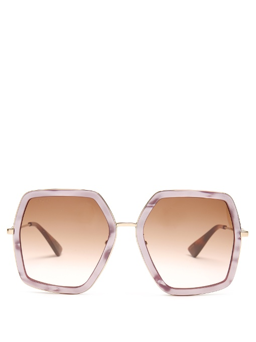 71fb83202d7 Gucci Oversized Hexagon-Frame Sunglasses In Light Pink