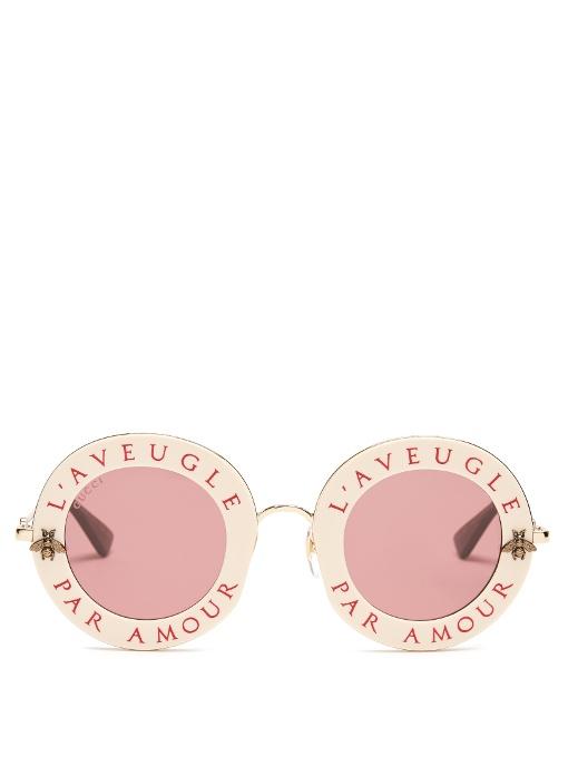 4f08126b2d6 Gucci L Aveugle Par Amour Metal Sunglasses In Ivory Multi