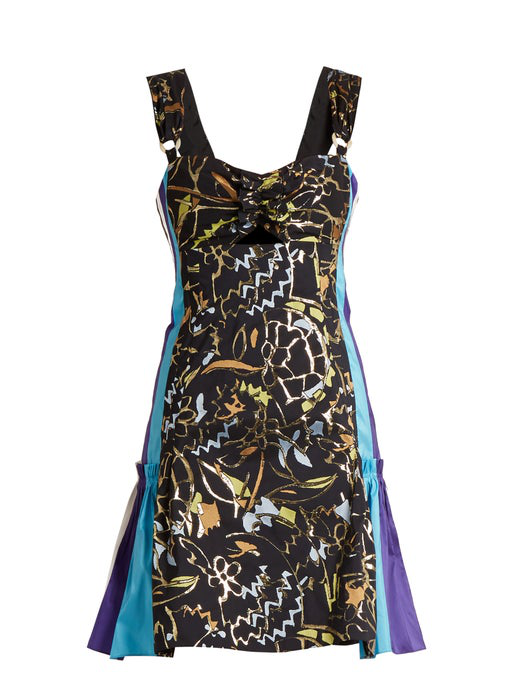 Peter Pilotto Contrast-panel Embroidered-jacquard Mini Dress In Navy Multi