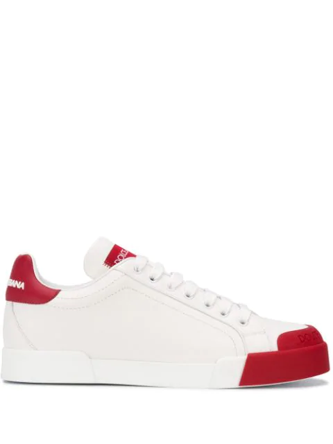Dolce & Gabbana Portofino Sneakers In Nappa Leather And Rubber Toe-cap In White