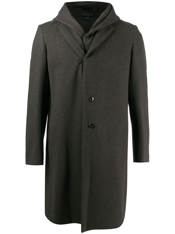 Attachment Double Layer Single Breast Hood Wool Cashmere Blend Coat In Grey