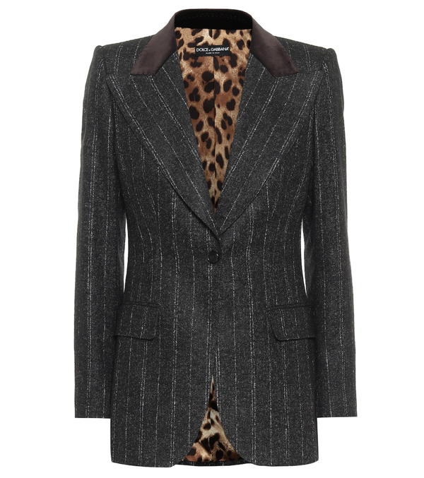 Dolce & Gabbana Single-breasted Jacket In Pinstripe Wool With Velvet Collar In Grey