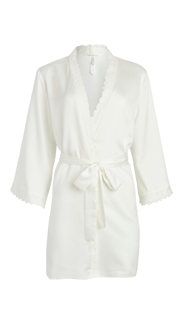 Flora Nikrooz Solid Charmeuse Wrap Robe With Lace Trim In Ivory