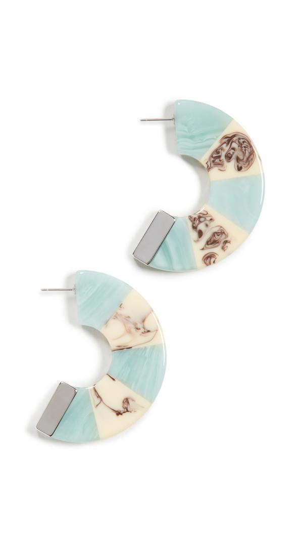 Rachel Comey Tabby Hoop Earrings In Turquoise White Marble