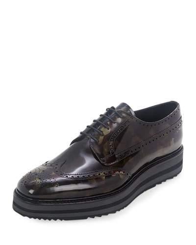 Prada Camo-print Wing-tip Derby Shoe, Green Camo