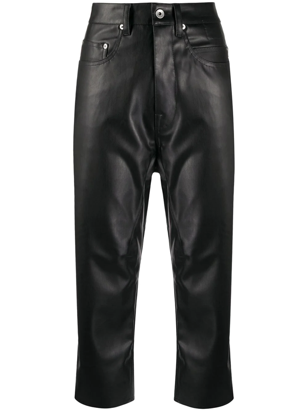 Rick Owens Drkshdw Cropped Faux-leather Trousers In Black