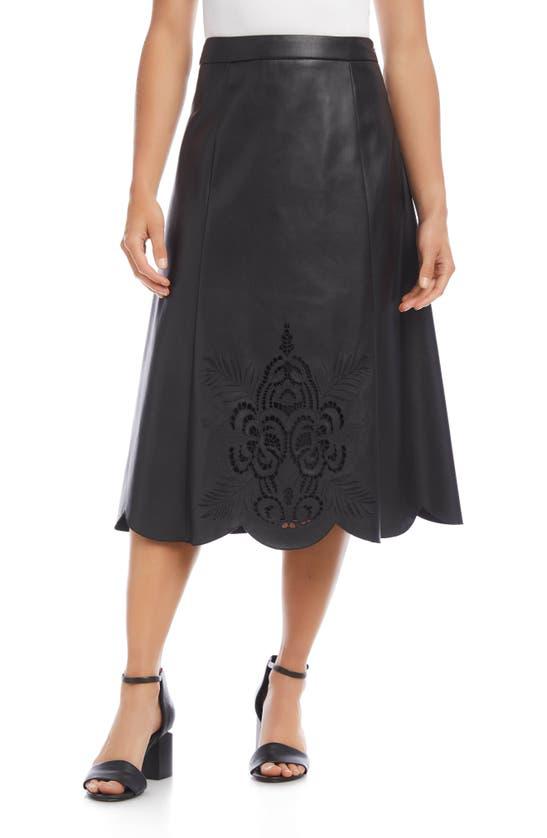 Karen Kane Faux Leather Midi Skirt In Blk