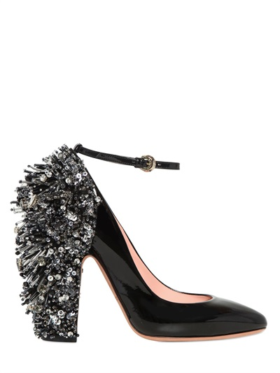 Rochas Patent Leather Mary Jane Pumps With Embellishment In Black