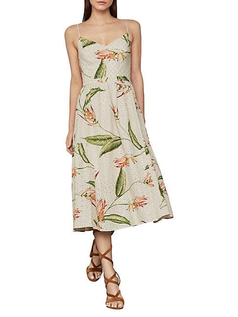 Bcbgmaxazria Paradise-print Eyelet Midi Dress In Natural Multi