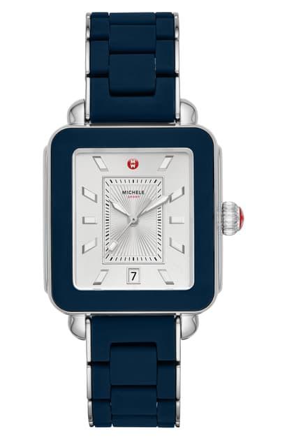 Michele Deco Sport Watch Head & Bracelet, 34mm In Blue/ Silver/ Silver