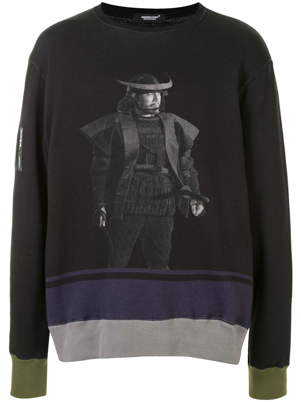 Undercover Long-sleeved Printed Sweater In Black