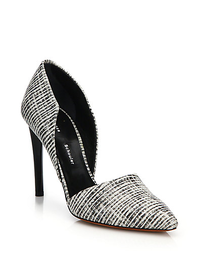 Proenza Schouler Woven Leather D'orsay Pumps In Black-white