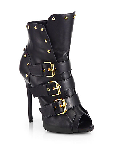 Giuseppe Zanotti Strappy Studded Leather Peep-Toe Ankle Boots In Black