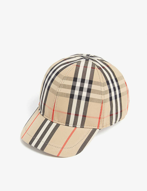 Burberry Kids' Logo Applique Vintage Check Trucker Baseball Cap In Beige