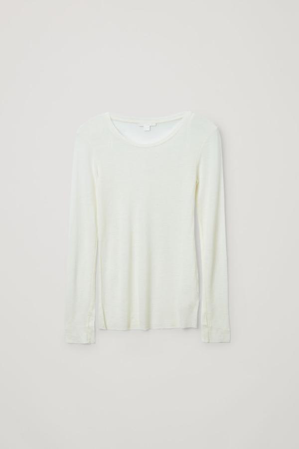 Cos Long-sleeved Merino Wool Top In White