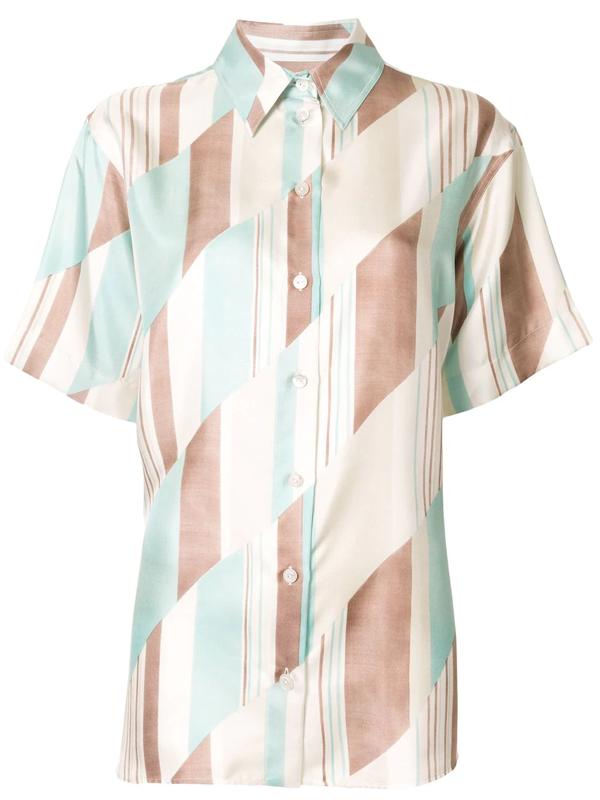 Jil Sander Geometric Short-sleeved Silk Shirt In Multicolour
