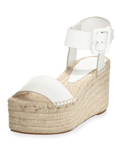 1b78a58959eb Vince White Leather   39 Abby  39  Platform Espadrille Sandals ...