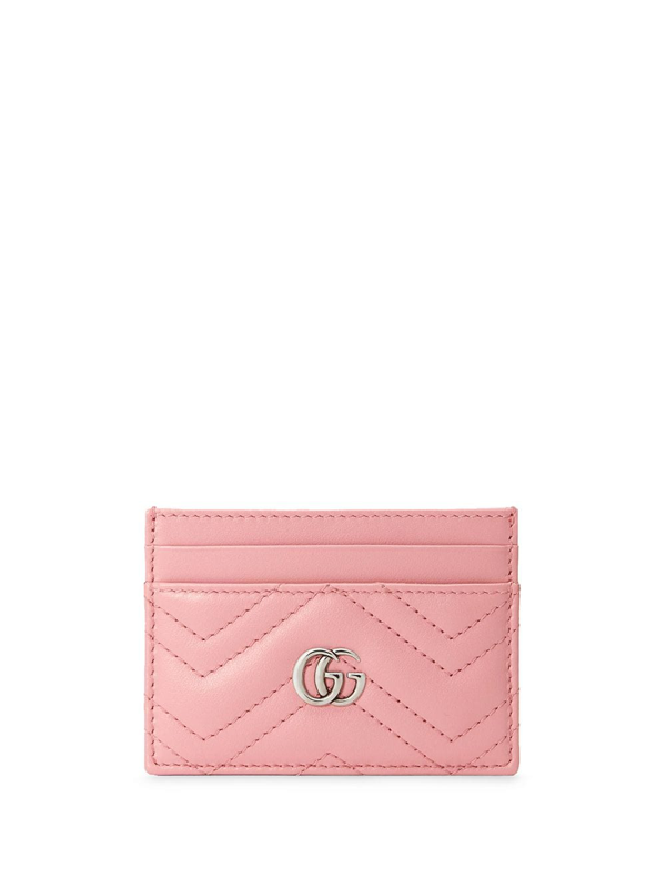 Gucci Gg Marmont Leather Card Holder In Pink