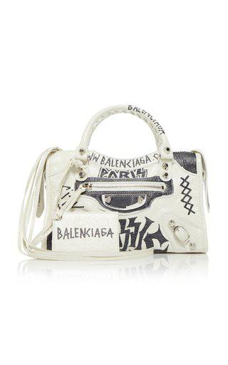 Balenciaga Classic City Mini Printed Textured-leather Tote In White