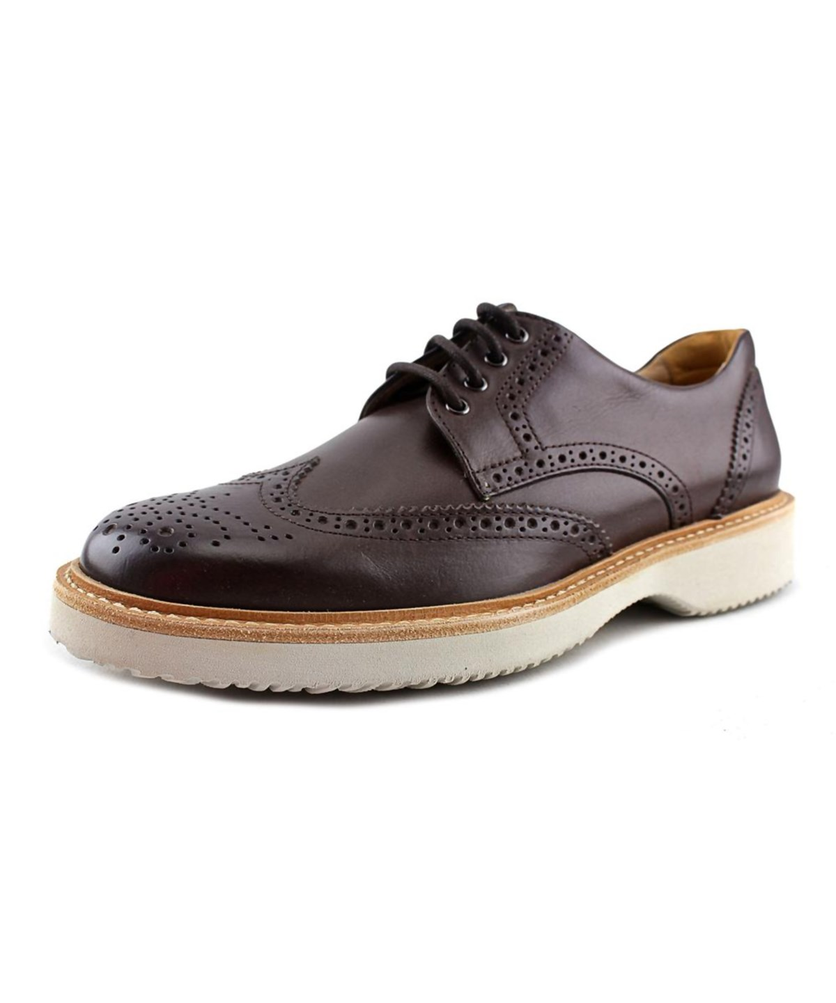 Hogan H217 Route Derby Bucature Men  Wingtip Toe Leather Brown Oxford