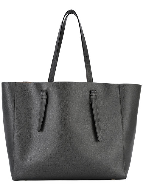 Valextra Soft Leather Tote In Black