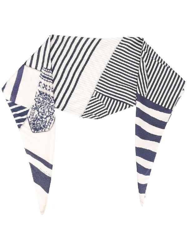 Pierre-louis Mascia Stripe-pattern Silk Scarf In Blue