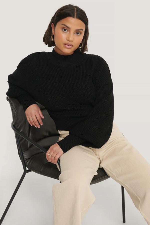 Na-kd Reborn Organic Volume Sleeve High Neck Knitted Sweater Black